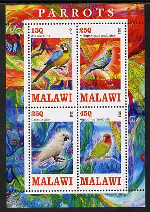Malawi 2013 Parrots perf sheetlet containing 4 values unmounted mint
