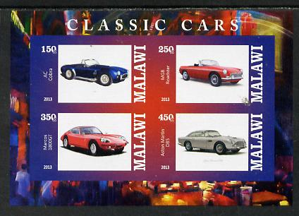 Malawi 2013 Classic Cars #2 imperf sheetlet containing 4 values unmounted mint
