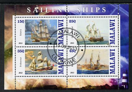 Malawi 2013 Sailing Ships #2 perf sheetlet containing 4 values fine cds used