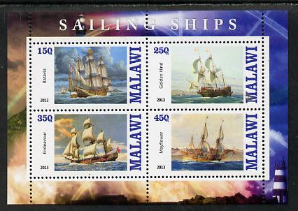 Malawi 2013 Sailing Ships #2 perf sheetlet containing 4 values unmounted mint
