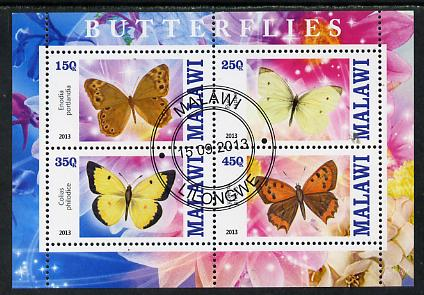 Malawi 2013 Butterflies #2 perf sheetlet containing 4 values fine cds used
