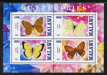 Malawi 2013 Butterflies #2 perf sheetlet containing 4 values unmounted mint