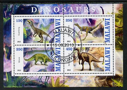 Malawi 2013 Dinosaurs #2 perf sheetlet containing 4 values fine cds used