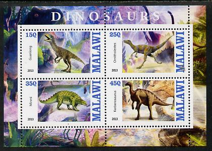 Malawi 2013 Dinosaurs #2 perf sheetlet containing 4 values unmounted mint