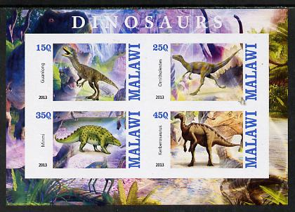 Malawi 2013 Dinosaurs #2 imperf sheetlet containing 4 values unmounted mint