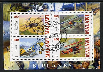 Malawi 2013 Biplanes perf sheetlet containing 4 values fine cds used