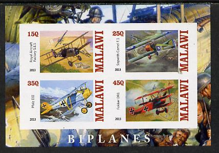 Malawi 2013 Biplanes imperf sheetlet containing 4 values unmounted mint