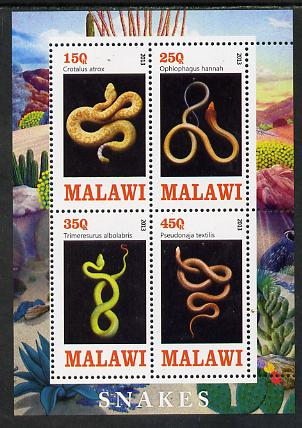Malawi 2013 Snakes perf sheetlet containing 4 values unmounted mint