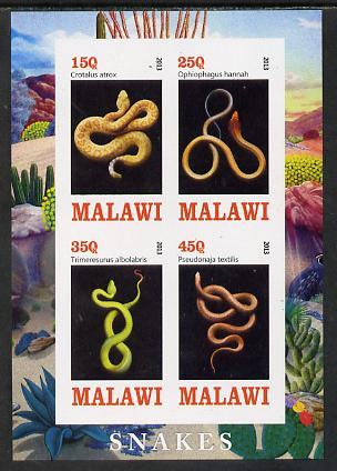 Malawi 2013 Snakes imperf sheetlet containing 4 values unmounted mint