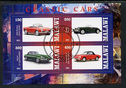 Malawi 2013 Classic Cars #3 perf sheetlet containing 4 values fine cds used