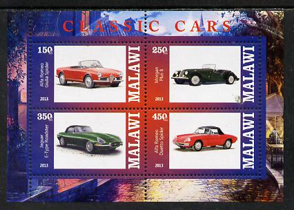 Malawi 2013 Classic Cars #3 perf sheetlet containing 4 values unmounted mint
