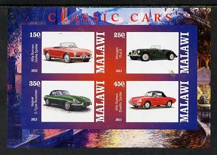 Malawi 2013 Classic Cars #3 imperf sheetlet containing 4 values unmounted mint