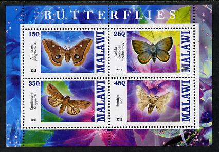 Malawi 2013 Butterflies #3 perf sheetlet containing 4 values unmounted mint