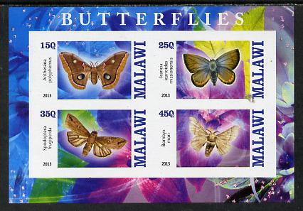 Malawi 2013 Butterflies #3 imperf sheetlet containing 4 values unmounted mint