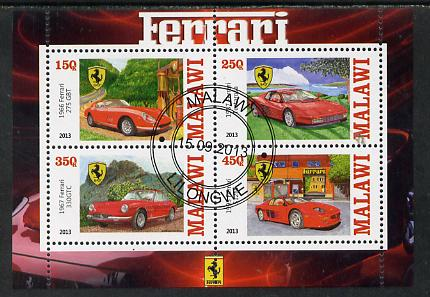 Malawi 2013 Ferrari Cars #2 perf sheetlet containing 4 values fine cds used