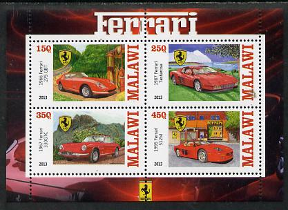 Malawi 2013 Ferrari Cars #2 perf sheetlet containing 4 values unmounted mint