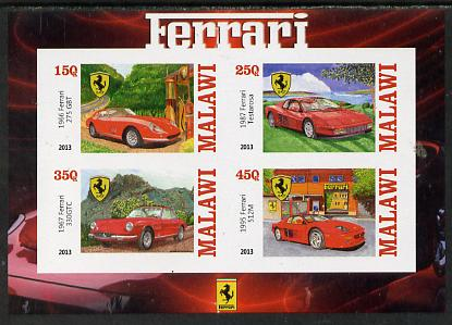 Malawi 2013 Ferrari Cars #2 imperf sheetlet containing 4 values unmounted mint, stamps on cars, stamps on ferrari