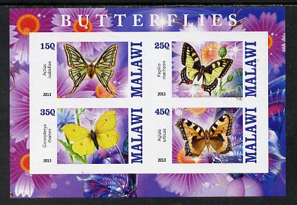 Malawi 2013 Butterflies #4 imperf sheetlet containing 4 values unmounted mint