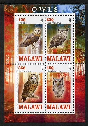 Malawi 2013 Owls perf sheetlet containing 4 values unmounted mint