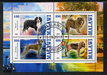 Malawi 2013 Dogs #2 perf sheetlet containing 4 values fine cds used