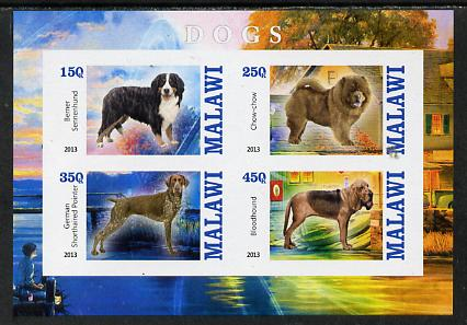 Malawi 2013 Dogs #2 imperf sheetlet containing 4 values unmounted mint