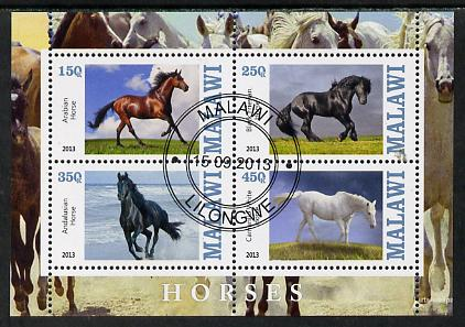 Malawi 2013 Horses perf sheetlet containing 4 values fine cds used