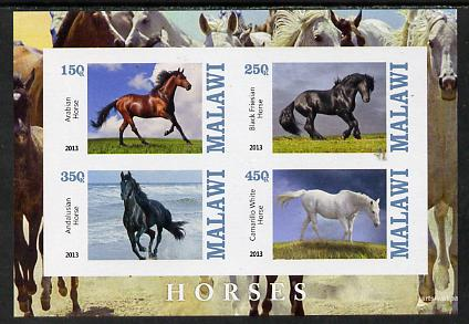 Malawi 2013 Horses imperf sheetlet containing 4 values unmounted mint