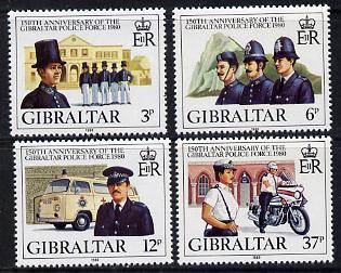 Gibraltar 1980 150th Anniversary of Gibraltar Police Force perf set of 4 unmounted mint SG 429-32