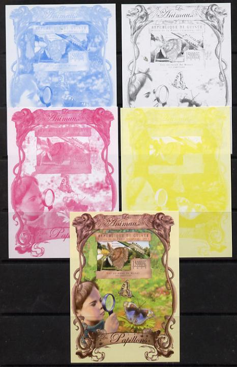 Guinea - Conakry 2013 Butterflies #1 souvenir sheet - the set of 5 imperf progressive proofs comprising the 4 individual colours plus all 4-colour composite, unmounted mint