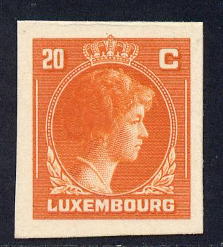 Luxembourg 1944 Grand Duchess Charlotte (SG type 70) IMPERF proof of 20c in orange-red on thick card (ex ABN Co archives - only one sheet known)