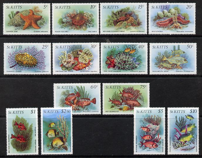 St Kitts 1984 Marine Life perf set of 14 complete unmounted mint, SG143-56