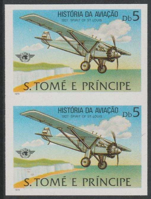 St Thomas & Prince Islands 1979 Aviation History 5Db (Spirit of St Louis) imperf proof pair in issued colours on ungummed paper