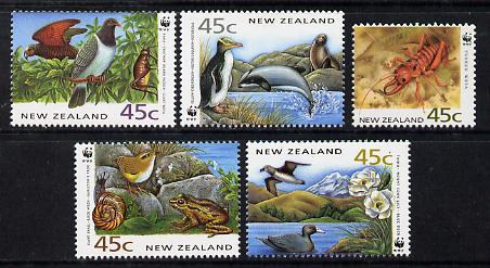 New Zealand 1993 Endangered Species set of 5 unmounted mint SG 1736-40