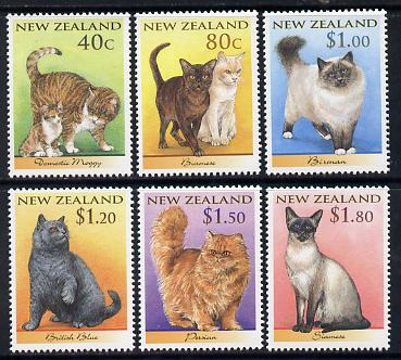 New Zealand 1998 Domestic Cats set of 6 unmounted mint SG 2133-38