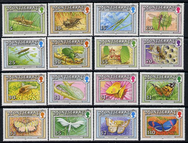 Montserrat 1992 Insects definitive set complete - 16 values unmounted mint SG 889-904