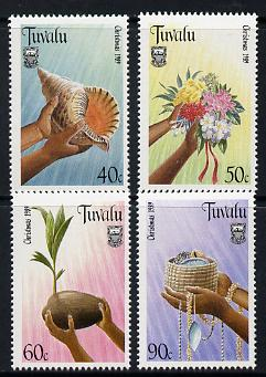 Tuvalu 1989 Christmas perf set of 4 unmounted mint SG 564-67