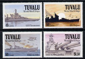 Tuvalu 1991 Ships of World War II - 2nd series perf set of 4 unmounted mint SG 613-16