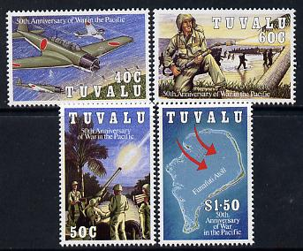 Tuvalu 1993 50th Anniversary of Pacific War set of 4 unmounted mint SG 668-71