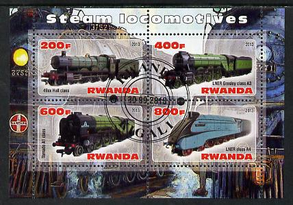 Rwanda 2013 Steam Locos #1 perf sheetlet containing 4 values fine cto used, stamps on , stamps on  stamps on railways