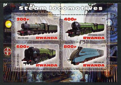 Rwanda 2013 Steam Locos #1 perf sheetlet containing 4 values unmounted mint