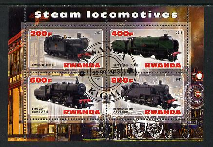 Rwanda 2013 Steam Locos #2 perf sheetlet containing 4 values fine cto used