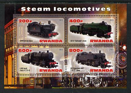 Rwanda 2013 Steam Locos #2 perf sheetlet containing 4 values unmounted mint