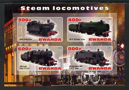 Rwanda 2013 Steam Locos #2 imperf sheetlet containing 4 values unmounted mint