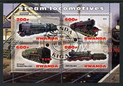 Rwanda 2013 Steam Locos #3 perf sheetlet containing 4 values fine cto used