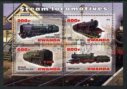 Rwanda 2013 Steam Locos #3 perf sheetlet containing 4 values unmounted mint