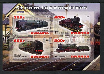 Rwanda 2013 Steam Locos #3 imperf sheetlet containing 4 values unmounted mint