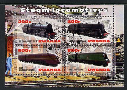 Rwanda 2013 Steam Locos #4 perf sheetlet containing 4 values fine cto used