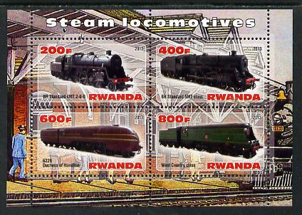 Rwanda 2013 Steam Locos #4 perf sheetlet containing 4 values unmounted mint