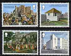 Isle of Man 1977 Bicentenary of Vist by John Wesley set of 4, SG 103-06