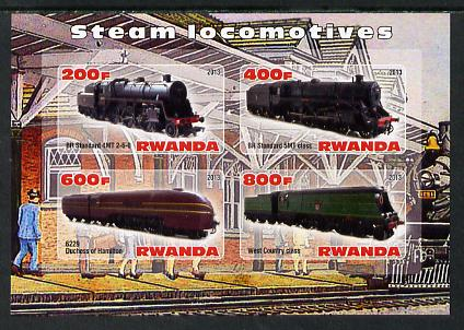 Rwanda 2013 Steam Locos #4 imperf sheetlet containing 4 values unmounted mint